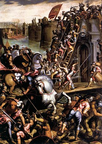 Siege of Zara - The crusaders conquering the City of Zara, painted by Andrea Vicentino