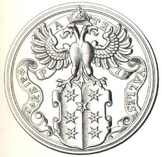 Coat of arms of Valais - The seal of 1582 with seven six-pointed stars, inscribed  S(igillum) REIP(ublice) PATRIE VALLESY