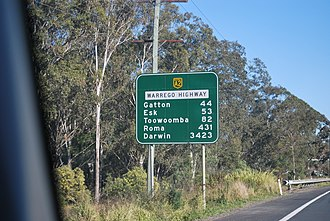 Warrego Highway - Image: Signpost on Warrego Highway Australia 1Aug 2009