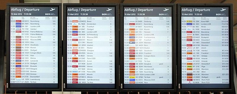 File:Signs Flughafen Willy Brandt (Schönefeld) Anzeigetafel.jpg