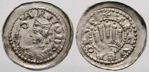 Arnold I of Vaucourt - Silver denier of Arnold I of Vaucourt, Archbishop of Trier. Obverse shows the mitered archbishop with a crosier and the name ARNOD.; the reverse shows an arched structure with five towers and a cross, with the motto TREVERORUM.