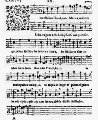 Thomas Weelkes - Weelkes madrigal print: Since Robin Hood, 1608