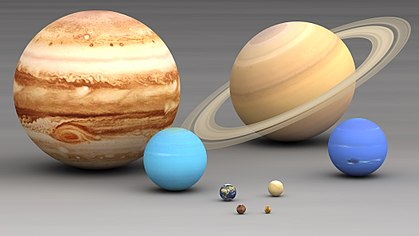 The outer planets (in the background) Jupiter, Saturn, Uranus and Neptune, compared to the inner planets Earth, Venus, Mars and Mercury (in the foreground) Size planets comparison.jpg