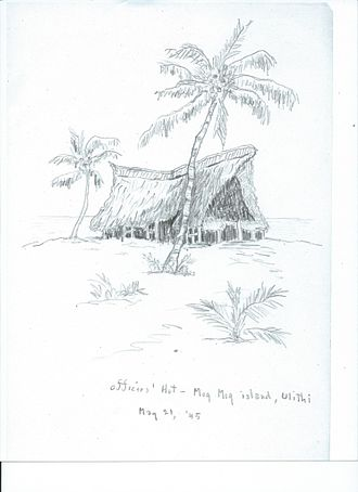 Ulithi - Sketch by Walter Allan Finlayson: Officer's Hut on Mog Mog Island, ULITHI, May 1945 WWII