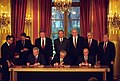 Slobodan Milosevic, Alija Izetbegovic, and Franjo Tudjman sign the Balkan Peace Agreement - Flickr - The Central Intelligence Agency.jpg