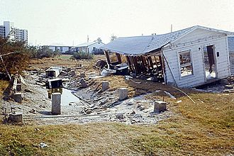 Hurricane Allen - Building smashed and knocked off foundation, Corpus Christi, Texas