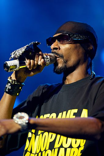 Rapper Snoop Dogg at a 2009 show. Snoop Dogg @ Dognvill 2009 07.jpg