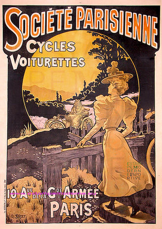 Société Parisienne - Société Parisienne Poster - Cycles and Voiturettes. circa 1900.