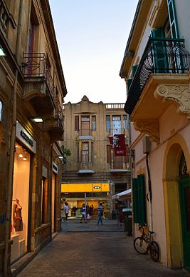 Socratous Street old Nicosia view towards Ledra Street Republic of Cyprus.jpg