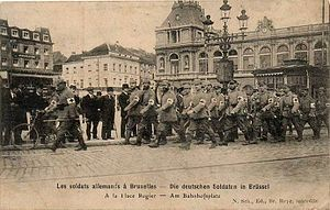 German occupation of Belgium during World War I - German troops marching through the Belgian capital, Brussels, in 1914