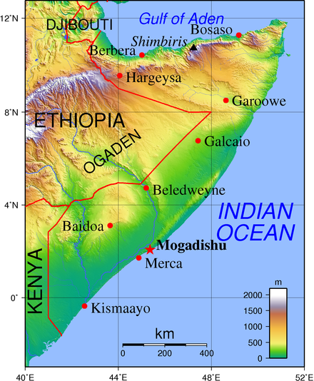 Topographic map of Somalia showing ports and inland towns Somalia Topography en.png