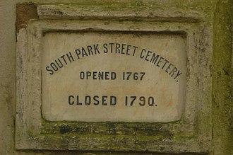 South Park Street Cemetery - Image: South Park Street Cemetery Gate