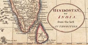 Battle of Negapatam (1782) - Detail of a 1794 map of south India and Ceylon. Batticaloa is north of the southeastern point of Ceylon