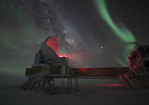 South Pole Telescope - The telescope seen during the polar night