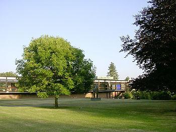 Lo Staff club ed il giardino. La parte centrale di Highfield è un'area verde con svariati alberi, piante e sculture.