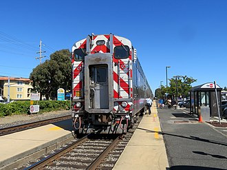 Broadway station (Caltrain) - A southbound train at Broadway station in 2018