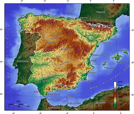 Topographic map of Spain Spain topo.jpg
