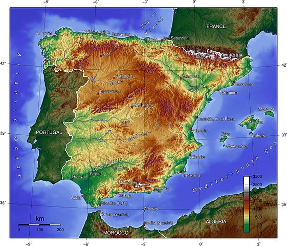 Topo map of Spain
