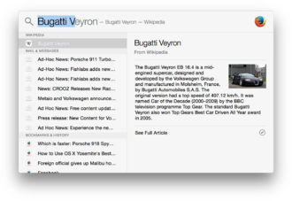Spotlight (software) - Image: Spotlight in OS X Yosemite 2