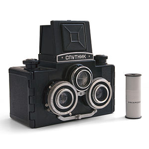 Stereo camera - Sputnik stereo camera. The two lower lenses are used for the photograph, while the third lens is used for composition.