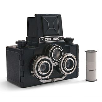 Stereo photography techniques - Sputnik stereo camera (Soviet Union, 1960s). Although there are three lenses present, only the lower two are used for the photograph – the third lens serves as a viewfinder for composition. The Sputnik produces two side-by-side square images on 120 film.