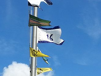 Commodore (United States) - The command pennant of the Commander, Submarine Squadron 16 (COMSUBRON 16) above the squadron's headquarters at Naval Submarine Base Kings Bay, Georgia.