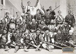 Jovan Babunski - Babunski (first row, third from right) with a group of Chetniks, during Macedonian Civil War 1903–08
