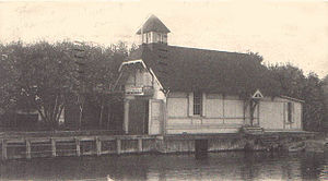 St. Joseph, Michigan - Original St Joseph Lifesaving Service boathouse, circa 1874.