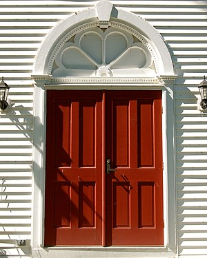 St. Paul's Lutheran Church, Parsonage and Cemetery - Image: St Pauls Lutheran Church doorway Rhinebeck NY