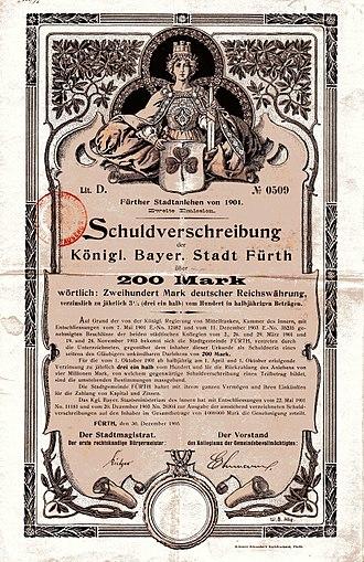 Fürth - Bond of the City of Fürth, issued 30. December 1903