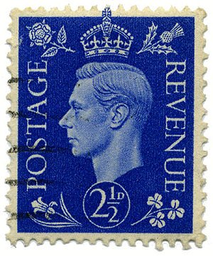 Definitive stamp - This UK definitive stamp showing King George VI of the United Kingdom was first issued in 1937.