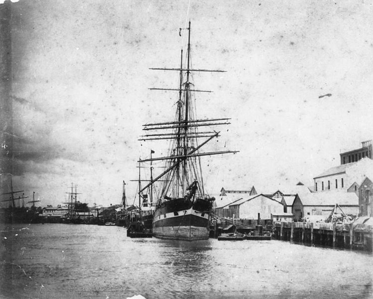 File:StateLibQld 1 115048 Unidentified sailing ships moored at Eagle Street Wharves, Brisbane, ca. 1885.jpg
