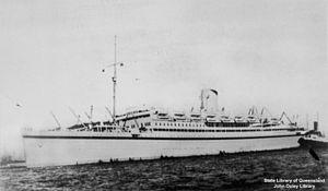 RMS Asturias (1925) - Asturias as a troop ship, 1954–57