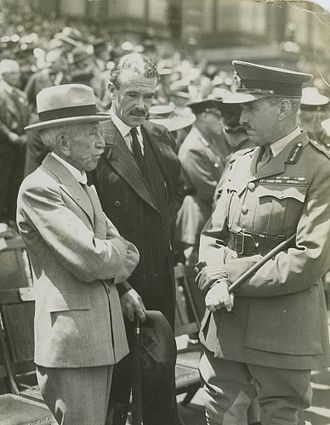 "Lyons Government - UAP Minister and veteran World War I Prime Minister Billy Hughes (left) with Richard Casey and John Lavarack c. 1933. Hughes opposed the policy of ""appeasement"" favoured by the Western powers and warned of an Australia ill-prepared for the coming war."