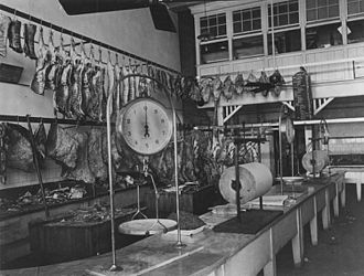 Roma Street, Brisbane - Interior view of the first State butcher shop in Roma Street, Brisbane, ca. 1917