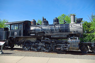 This Baldwin 2-8-0 Consolidation-type locomotive was built for the Oneida & Western Railroad in 1916, and was operated from 1937 to 1953 on the Rahway Valley Railroad's New Jersey short line. Preserved at Steamtown National Historic Site. Steamtown Baldwin Rahway Valley 15 Locomotive.JPG