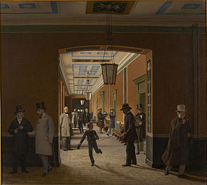 "Sorø Academy - The ""Stone Hallway"" in 1871, painted by Christen Dalgaard who was a drawing teacher at the Academy from 1862 to 1892"