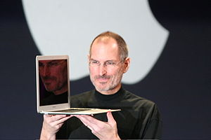 300px Steve Jobs with MacBook Air Wheres my Apple underwear? Im dead serious.