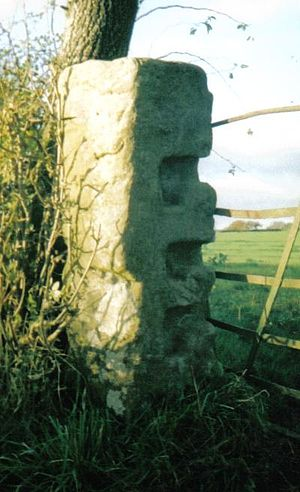 Gatepost -  'L'-shaped grooves to slide in the crossbar.