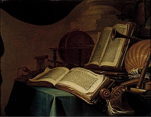 Still Life with Books, a Globe and Musical Instruments
