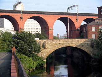 Stockport - The Stockport railway viaduct over the River Mersey.