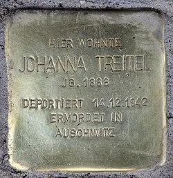 Photo of Johanna Treitel brass plaque