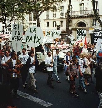 Anti-nuclear movement in France - Demonstration against French nuclear tests in 1995 in Paris.