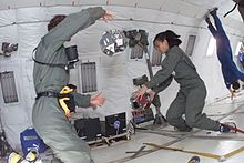 MIT students test the SPHERES satellites aboard NASA's reduced gravity aircraft.