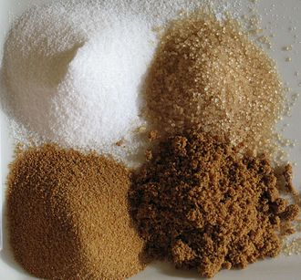 Sugar - Sugars (clockwise from top-left): white refined, unrefined, unprocessed cane, brown