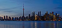 Sunset Toronto Skyline Panorama Crop from Snake Island.jpg