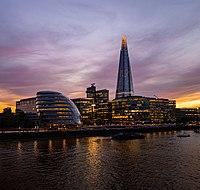 Sunset on The Shard & City Hall across Thames river in London.jpg