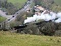 Swanage Railway train on viaduct - geograph.org.uk - 314769.jpg