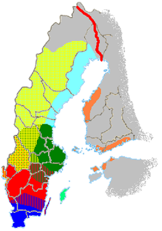 Swedish dialects - Map showing the Swedish dialects traditionally spoken. (Note that even the northernmost part of Sweden is Swedish speaking today and that the dialects in Estonia are almost extinct.)