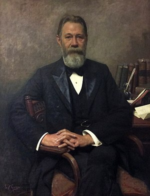 Leys Institute Library Ponsonby - Portrait of Thomson W. Leys on display in the Leys Institute Library